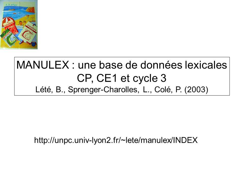 MANULEX : une base de données lexicales CP, CE1 et cycle 3