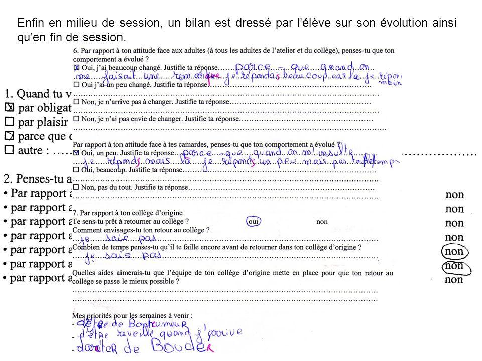 Enfin en milieu de session, un bilan est dressé par l'élève sur son évolution ainsi qu'en fin de session.