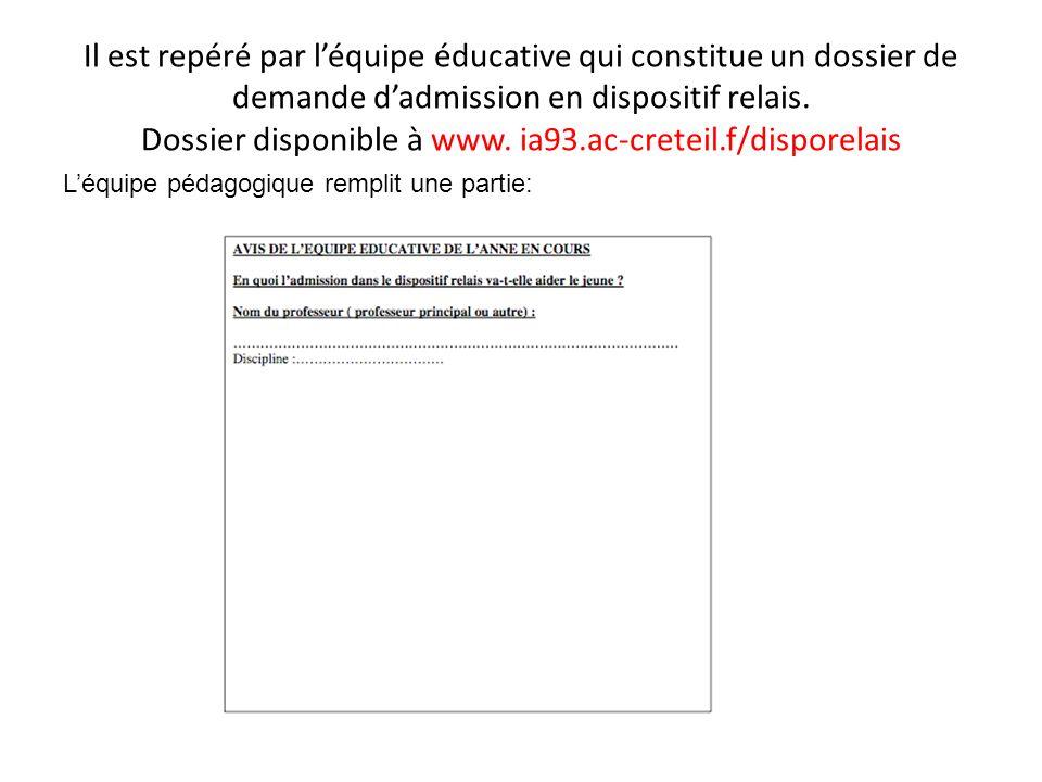 Il est repéré par l'équipe éducative qui constitue un dossier de demande d'admission en dispositif relais. Dossier disponible à www. ia93.ac-creteil.f/disporelais