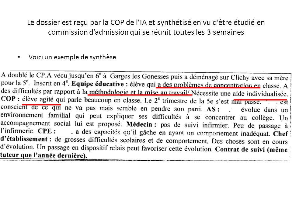 Le dossier est reçu par la COP de l'IA et synthétisé en vu d'être étudié en commission d'admission qui se réunit toutes les 3 semaines
