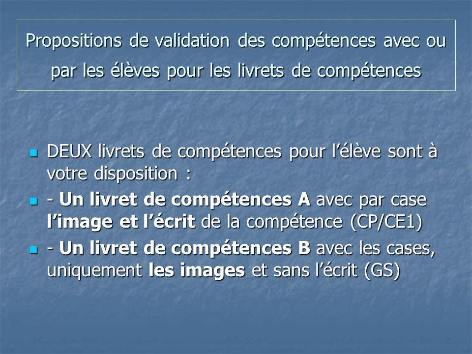 Propositions de validation des compétences avec ou par les élèves pour les livrets de compétences
