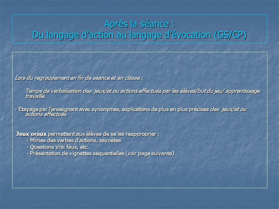 Après la séance : Du langage d'action au langage d'évocation (GS/CP)