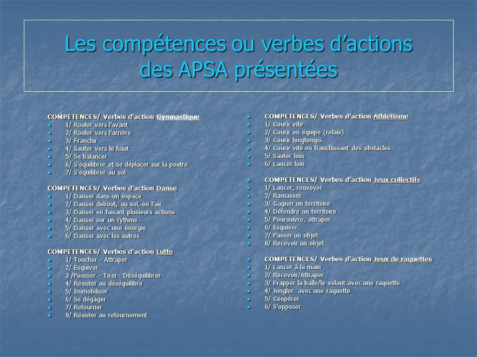 Les compétences ou verbes d'actions des APSA présentées
