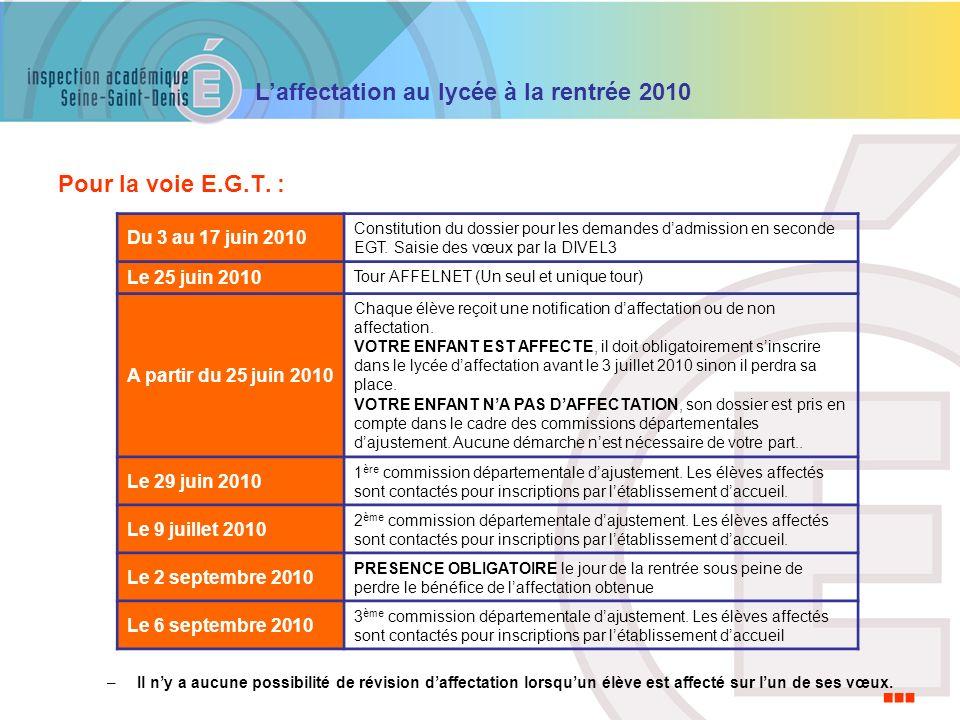 … Pour la voie E.G.T. : Du 3 au 17 juin 2010 Le 25 juin 2010