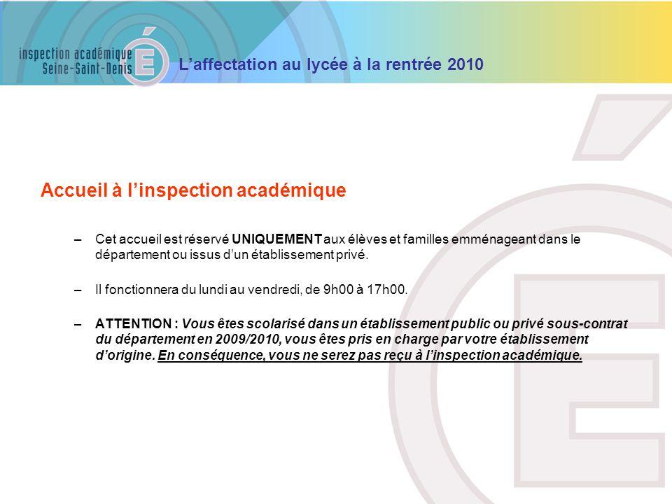 Accueil à l'inspection académique