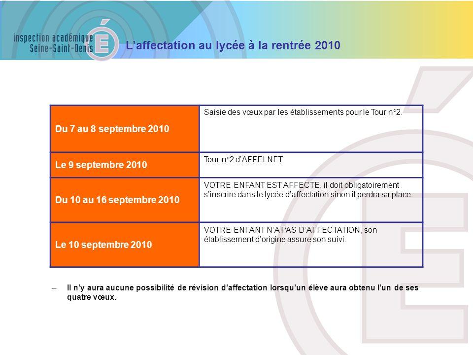 Du 7 au 8 septembre 2010 Le 9 septembre 2010