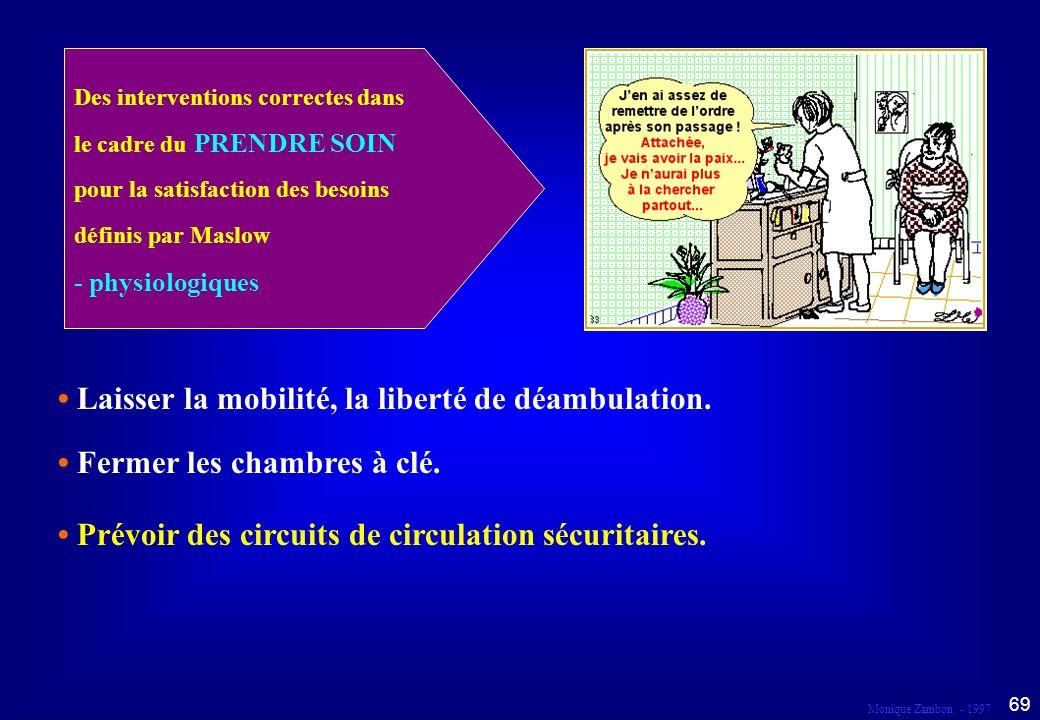 • Laisser la mobilité, la liberté de déambulation.