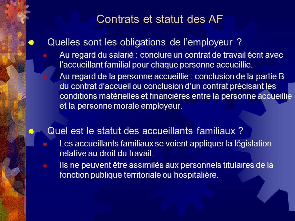 Contrats et statut des AF
