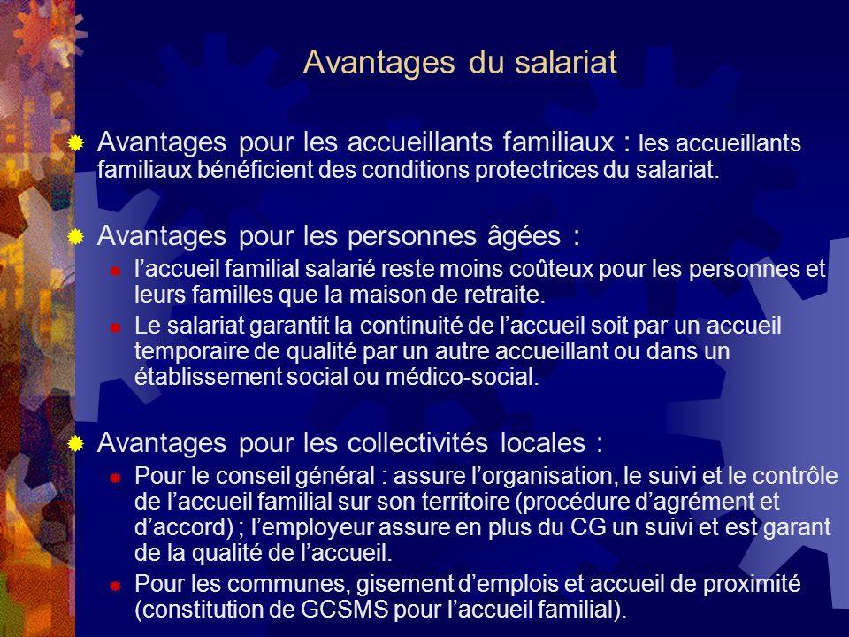 Avantages du salariat Avantages pour les accueillants familiaux : les accueillants familiaux bénéficient des conditions protectrices du salariat.