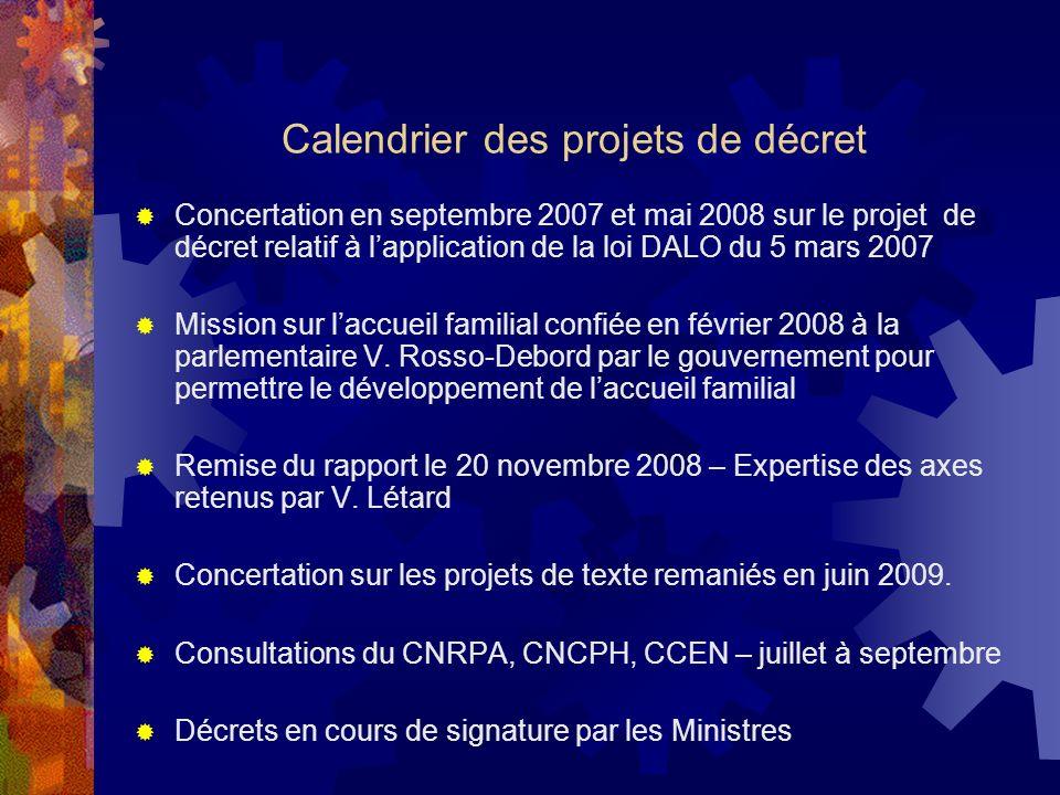 Calendrier des projets de décret