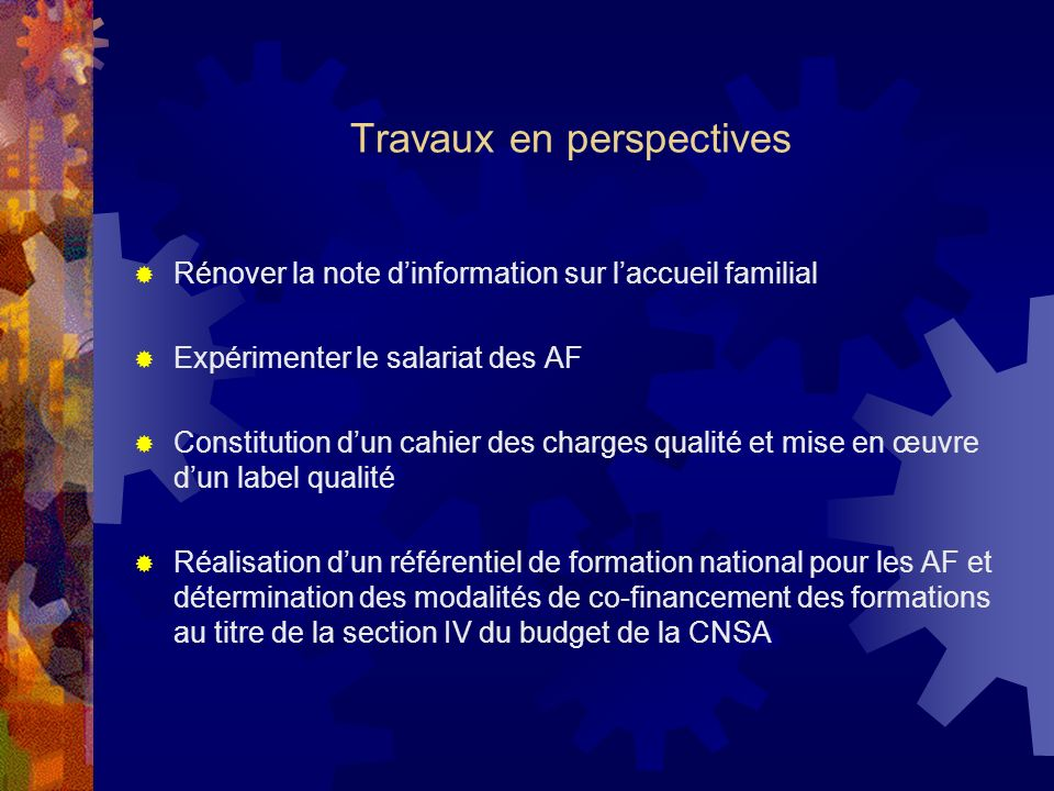 Travaux en perspectives