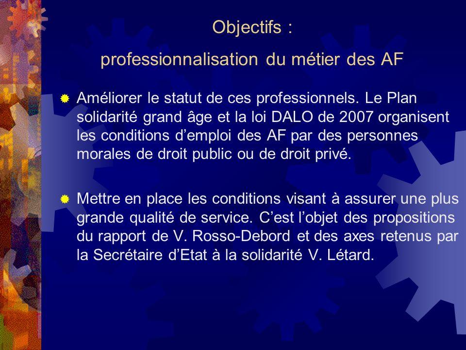 Objectifs : professionnalisation du métier des AF
