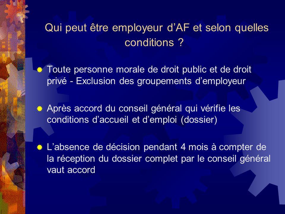 Qui peut être employeur d'AF et selon quelles conditions