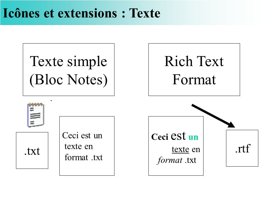 Texte simple (Bloc Notes) Rich Text Format
