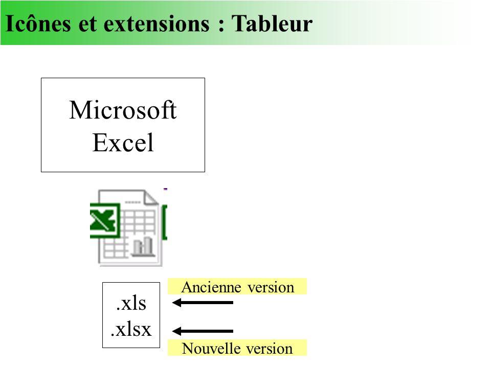 Microsoft Excel Icônes et extensions : Tableur .xls .xlsx