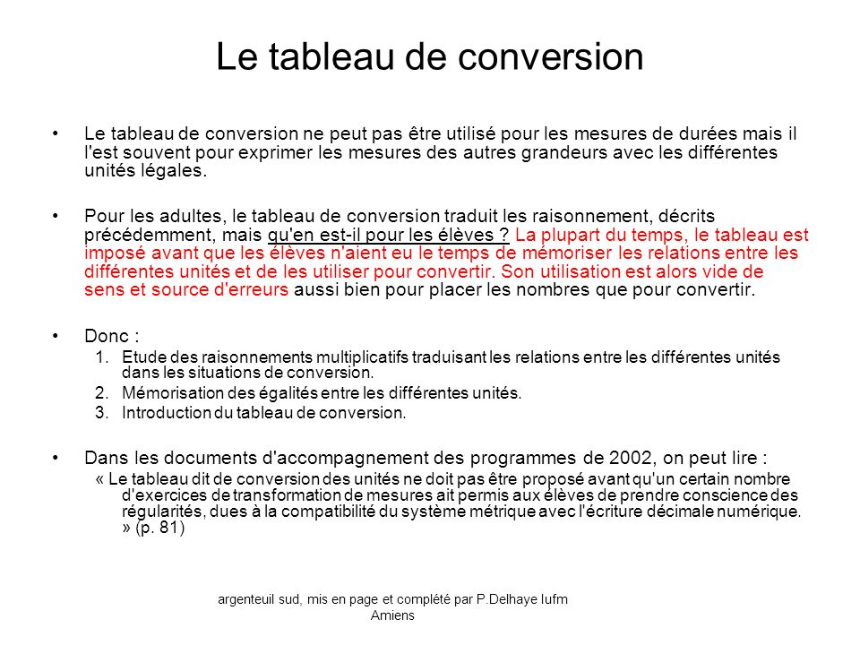 Le tableau de conversion