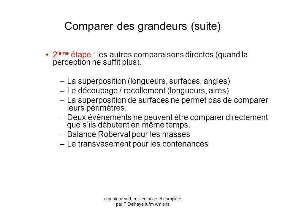 Comparer des grandeurs (suite)