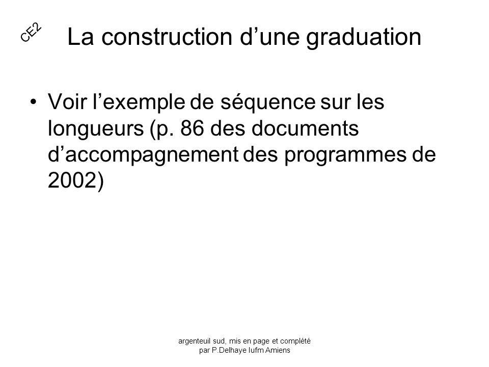 La construction d'une graduation