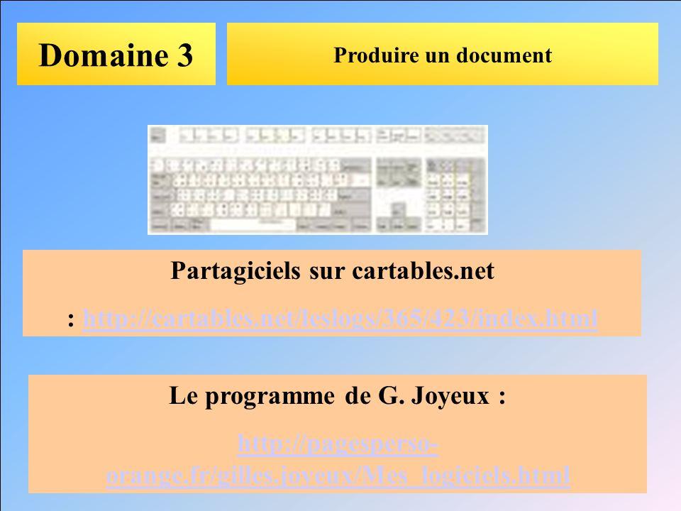 Domaine 3 Partagiciels sur cartables.net