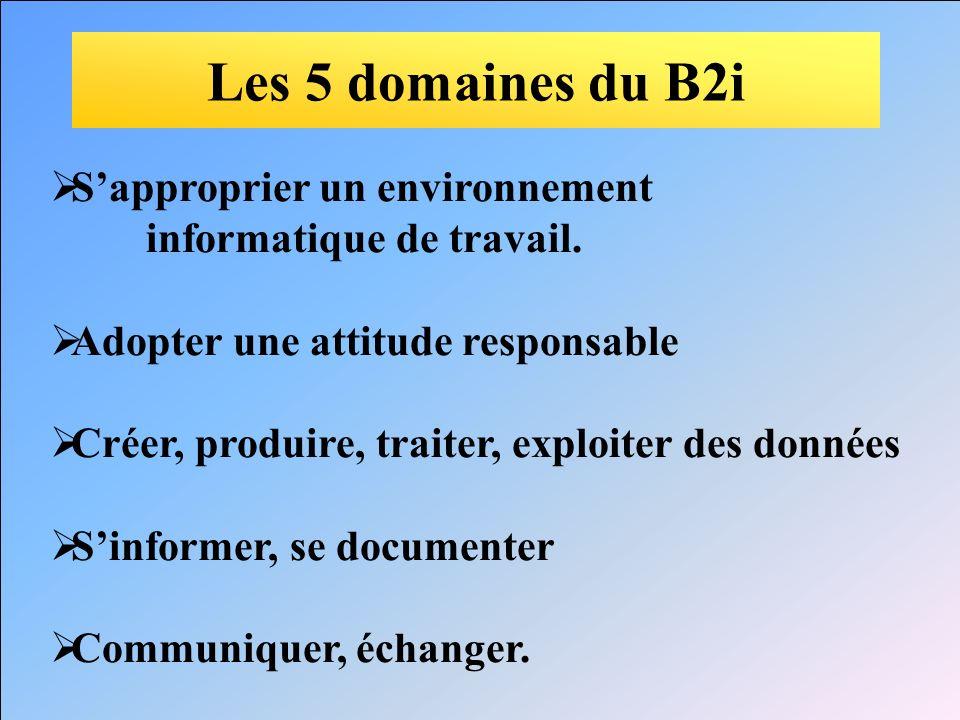 Les 5 domaines du B2i S'approprier un environnement
