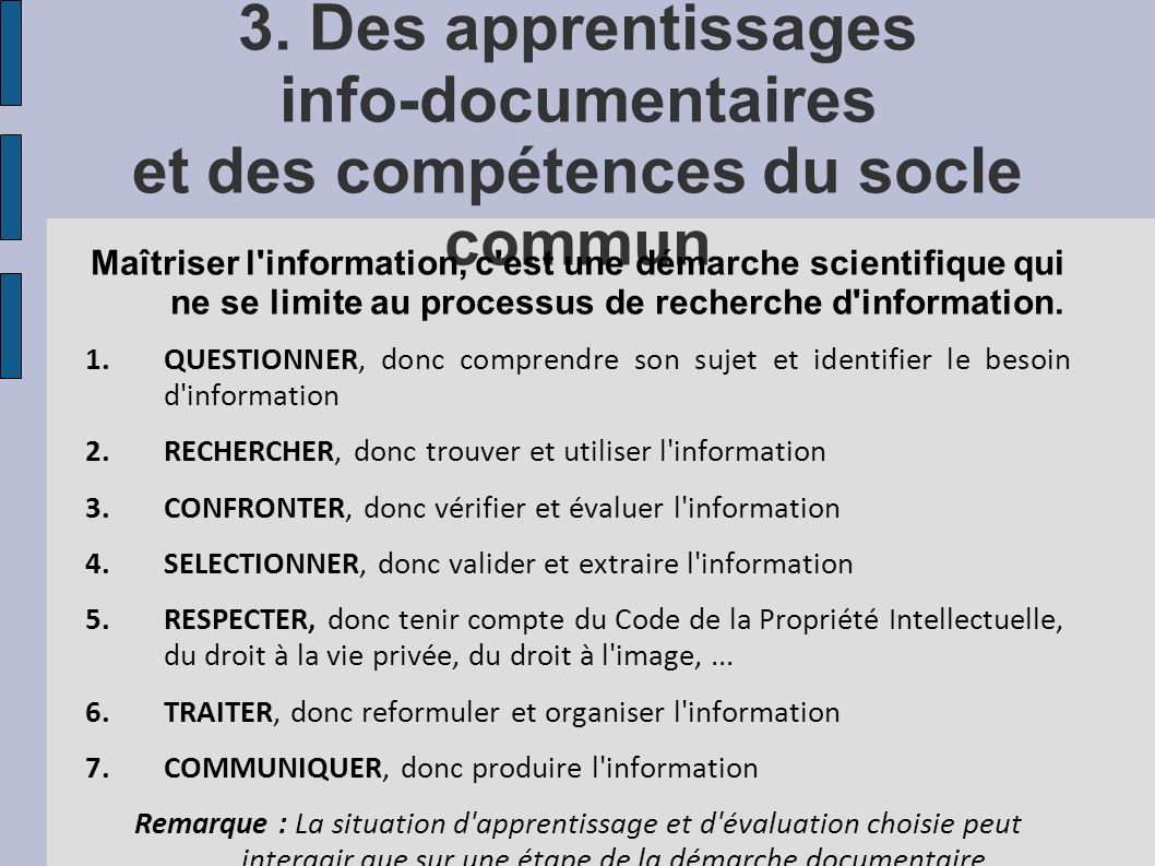3. Des apprentissages info-documentaires et des compétences du socle commun