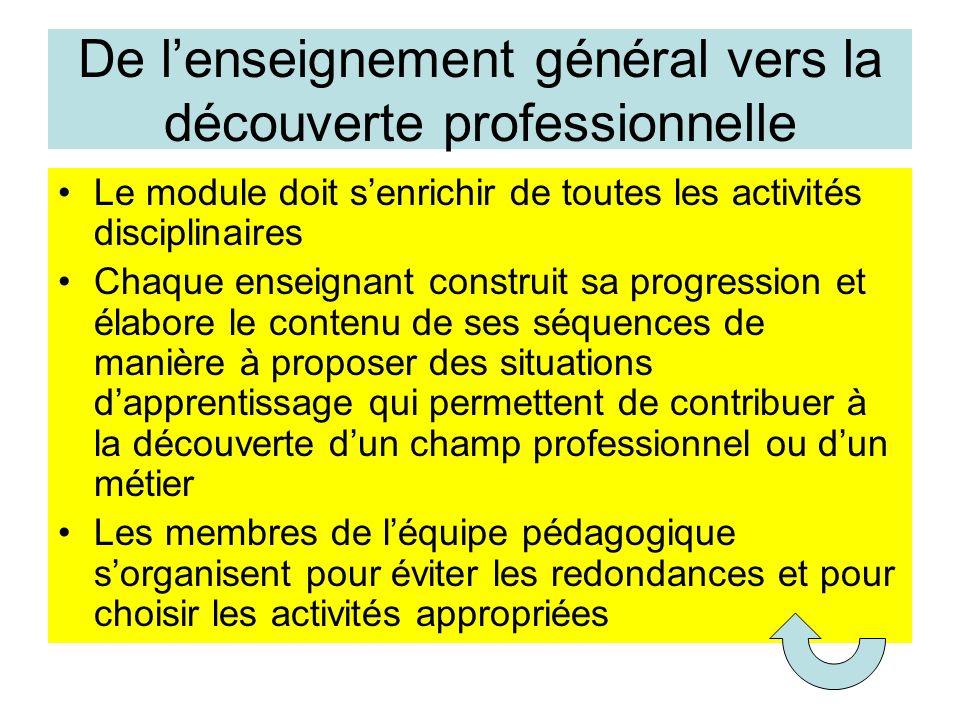 De l'enseignement général vers la découverte professionnelle