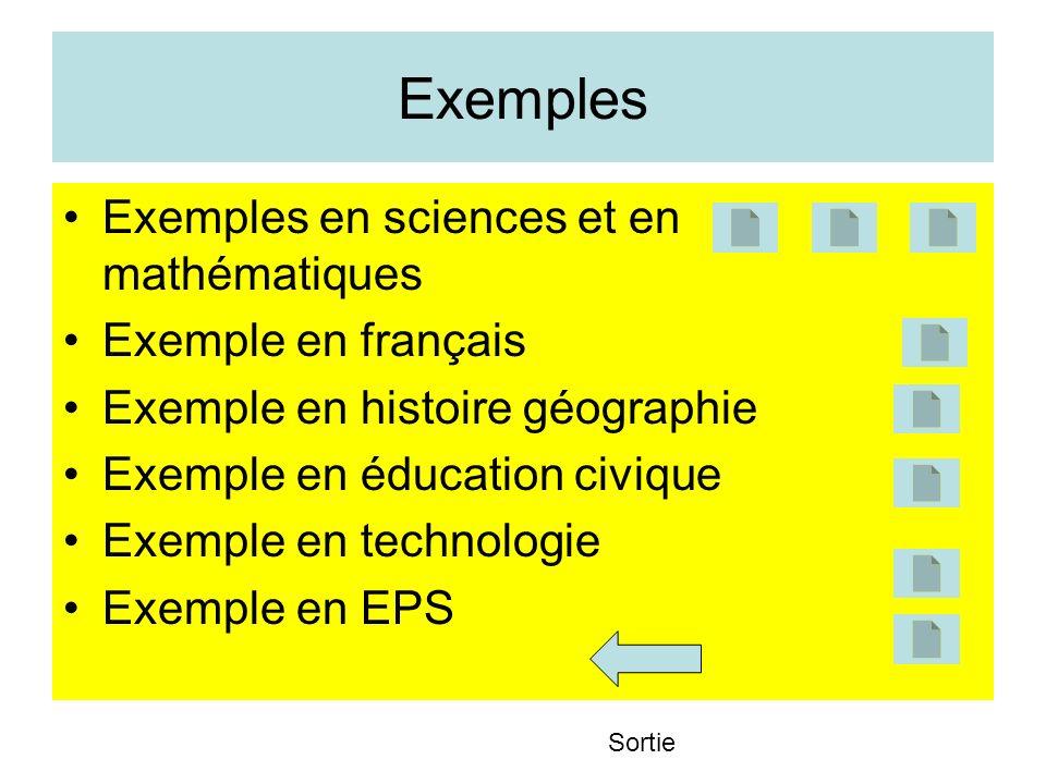 Exemples Exemples en sciences et en mathématiques Exemple en français