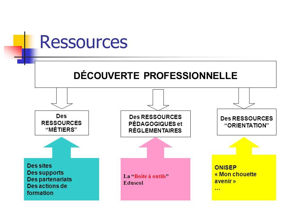 Ressources DÉCOUVERTE PROFESSIONNELLE Des RESSOURCES MÉTIERS