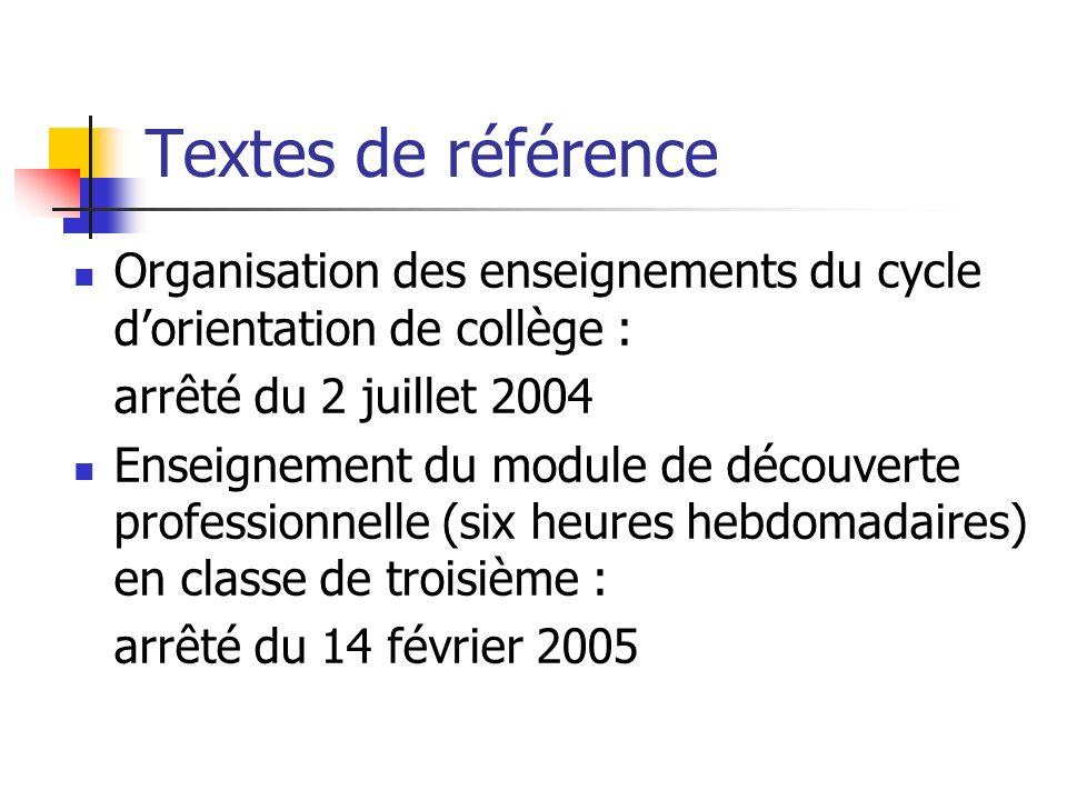 Textes de référence Organisation des enseignements du cycle d'orientation de collège : arrêté du 2 juillet 2004.