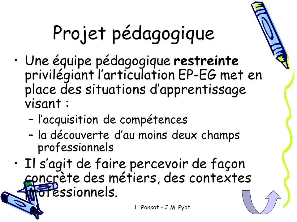 Projet pédagogiqueUne équipe pédagogique restreinte privilégiant l'articulation EP-EG met en place des situations d'apprentissage visant :