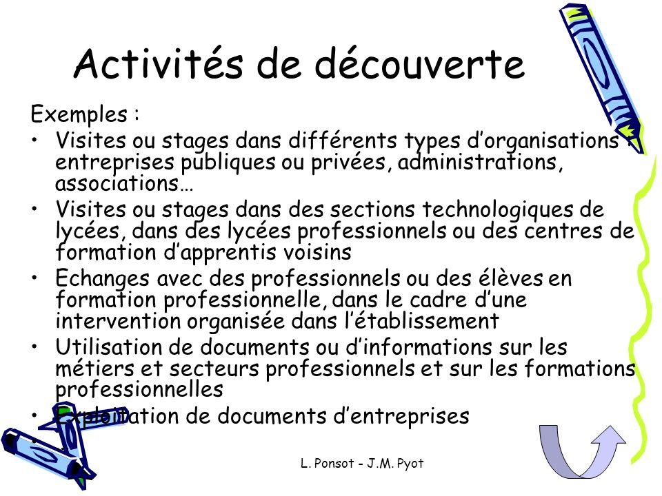 Activités de découverte