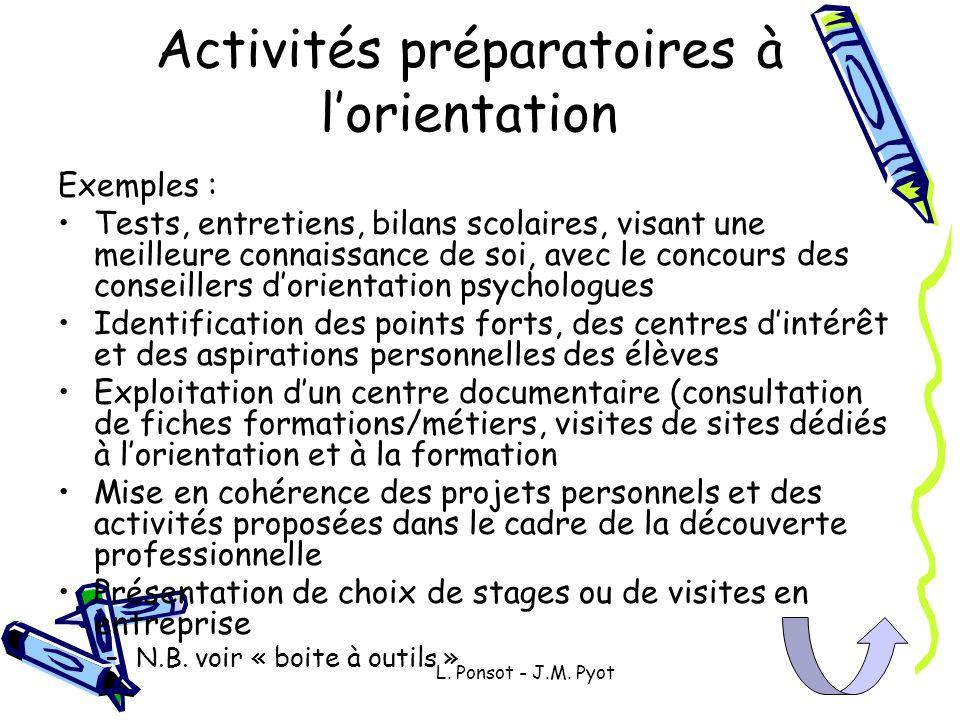 Activités préparatoires à l'orientation