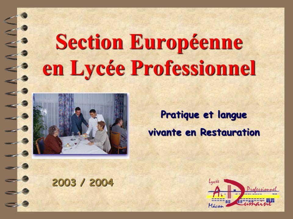 Section Européenne en Lycée Professionnel