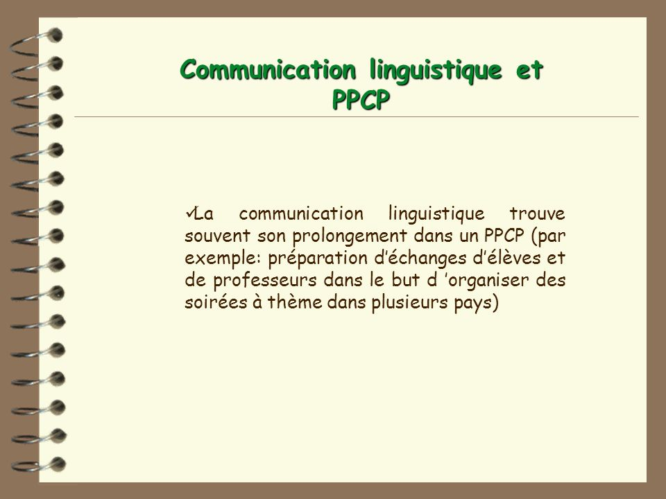 Communication linguistique et PPCP