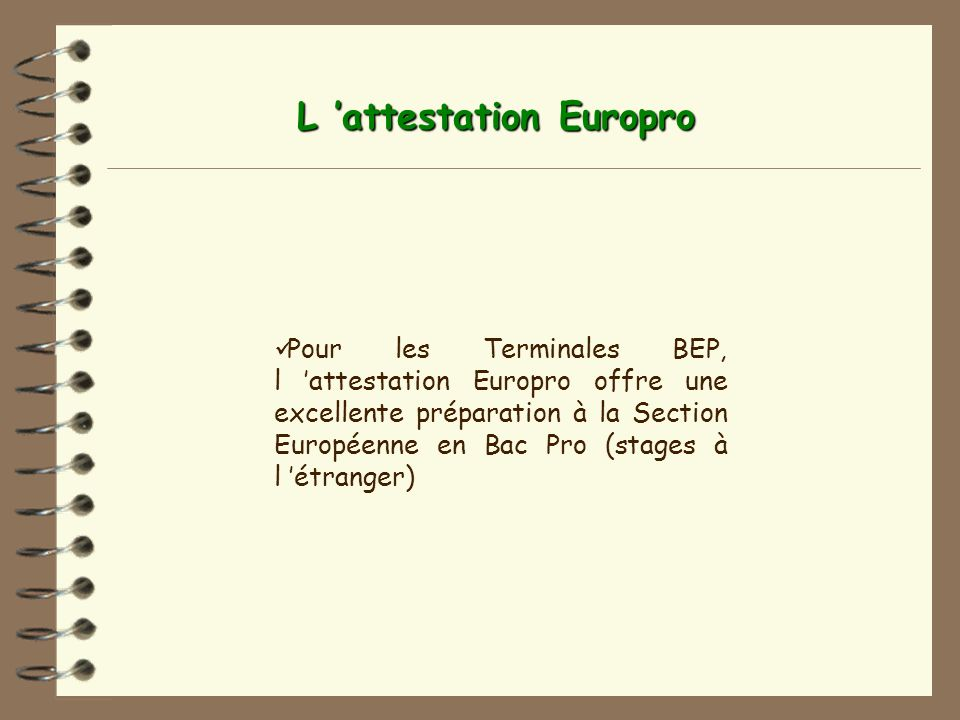 L 'attestation Europro
