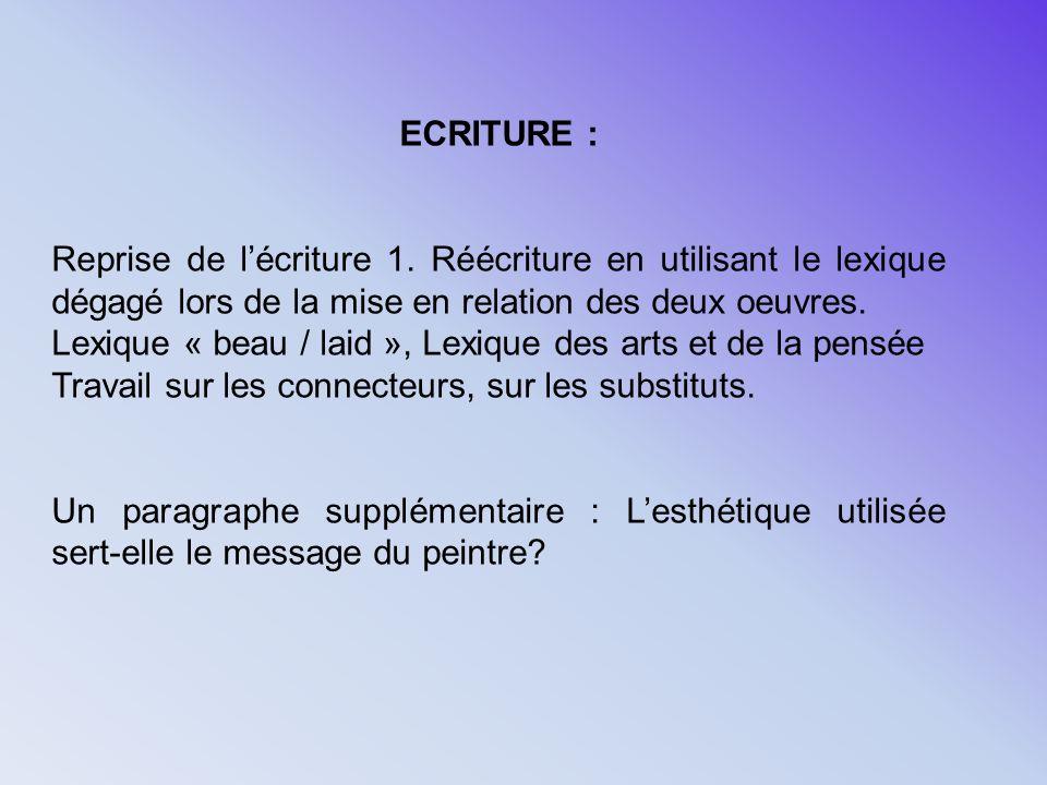 ECRITURE :Reprise de l'écriture 1. Réécriture en utilisant le lexique dégagé lors de la mise en relation des deux oeuvres.