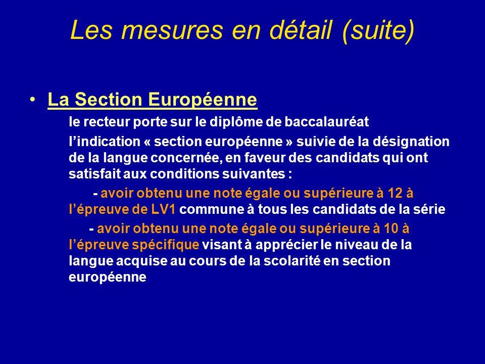 Les mesures en détail (suite)