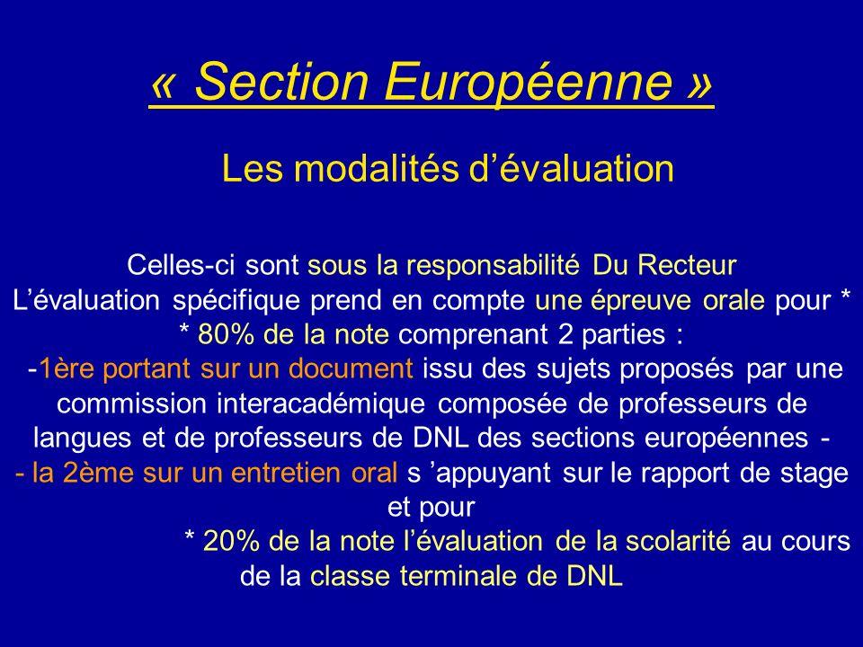« Section Européenne » Les modalités d'évaluation
