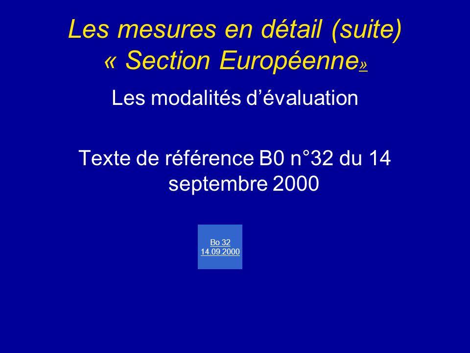 Les mesures en détail (suite) « Section Européenne»