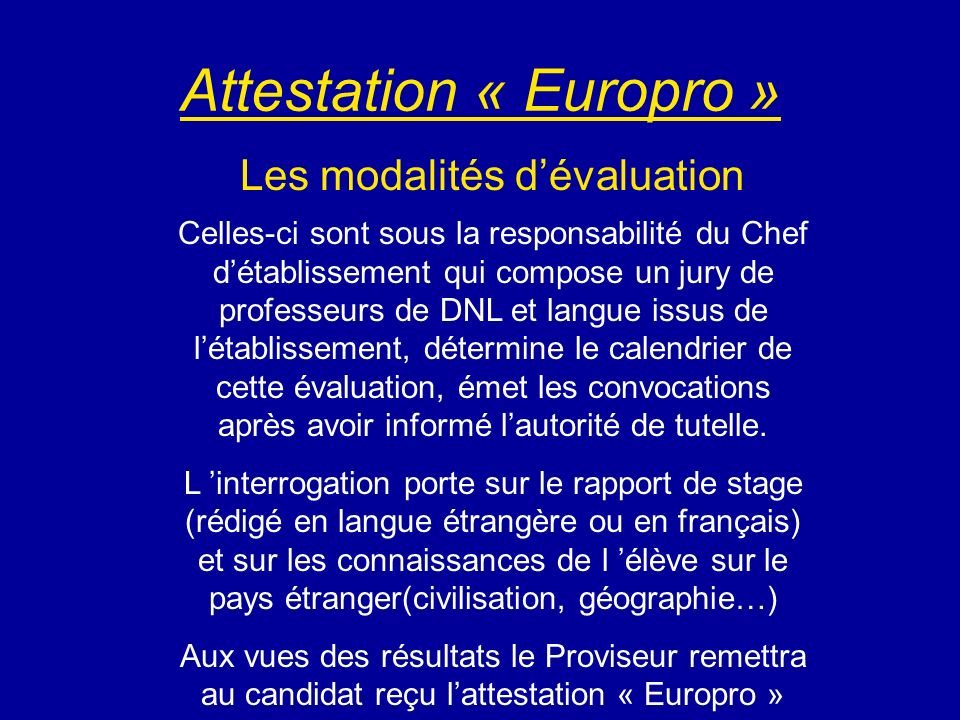 Attestation « Europro »