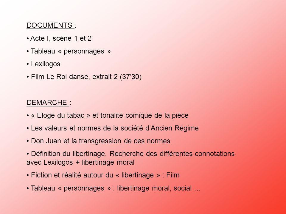DOCUMENTS :Acte I, scène 1 et 2. Tableau « personnages » Lexilogos. Film Le Roi danse, extrait 2 (37'30)