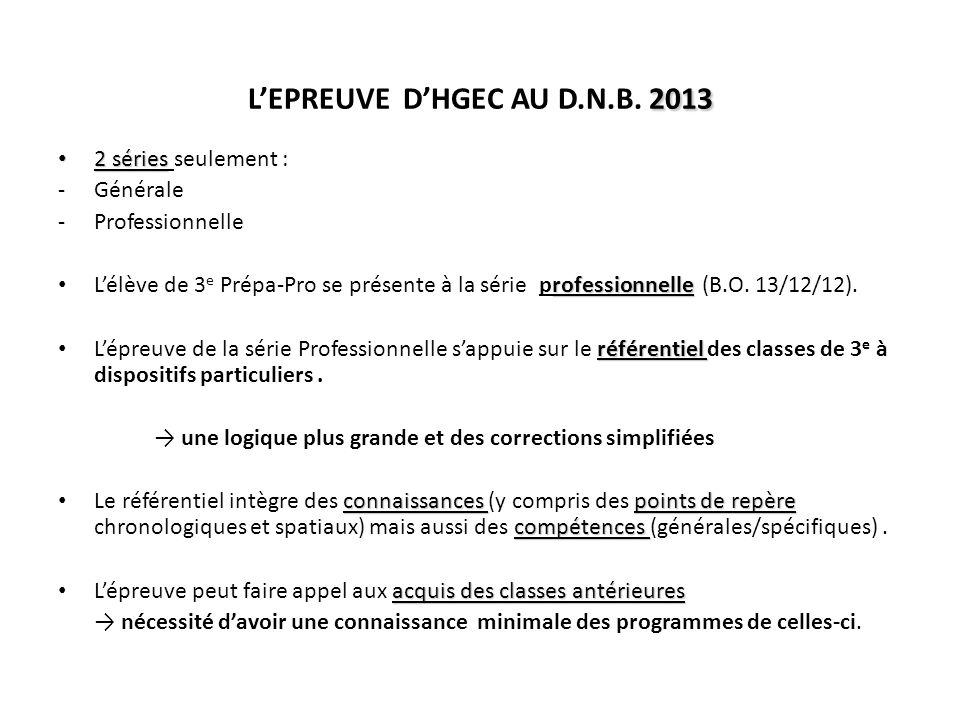 L'EPREUVE D'HGEC AU D.N.B. 2013
