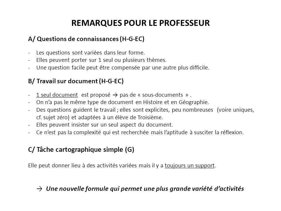 REMARQUES POUR LE PROFESSEUR