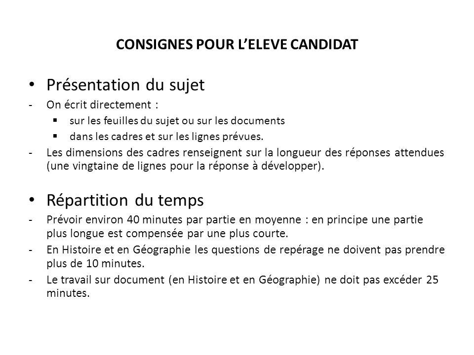 CONSIGNES POUR L'ELEVE CANDIDAT