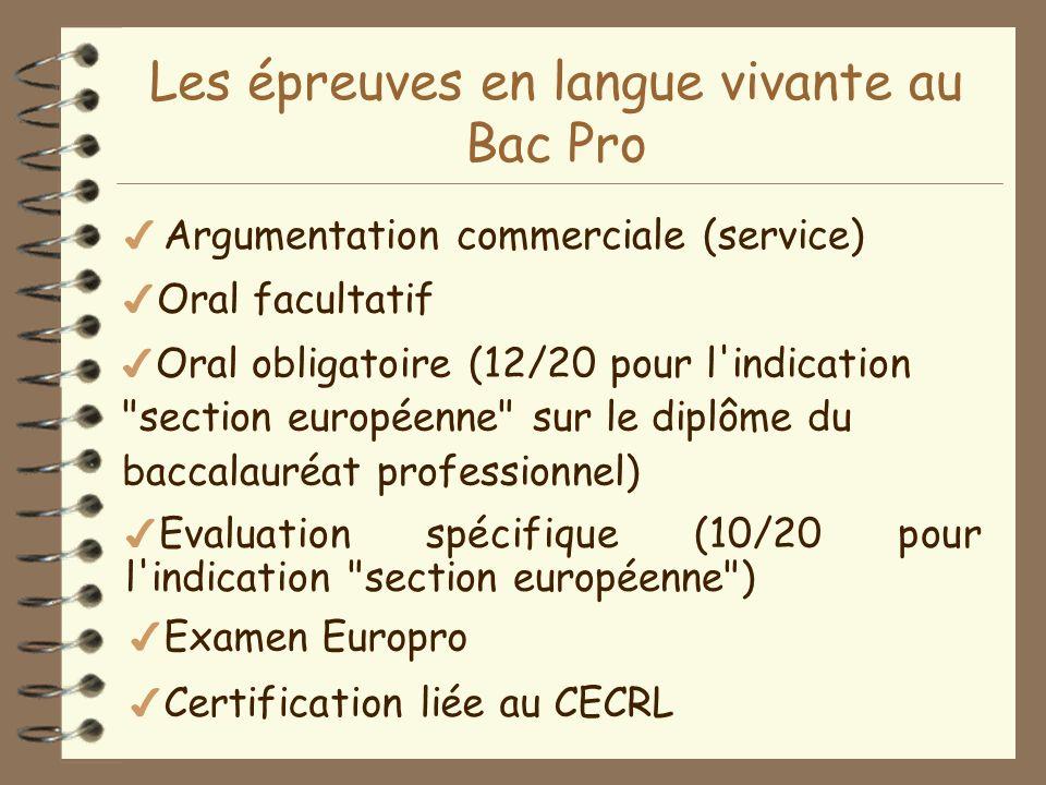 Les épreuves en langue vivante au Bac Pro