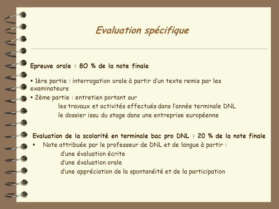 Evaluation spécifique