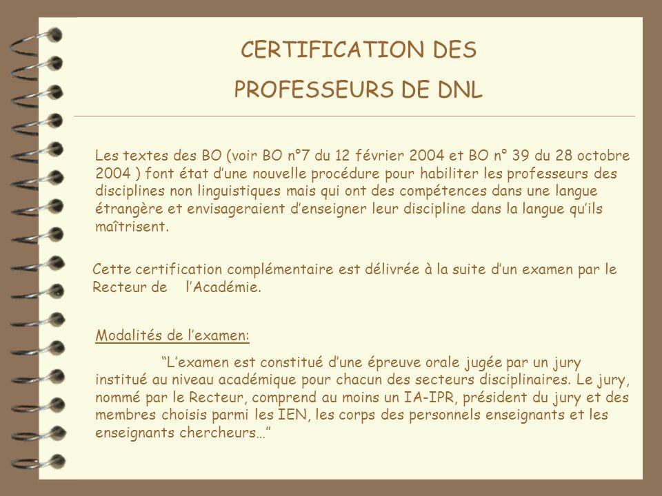 CERTIFICATION DES PROFESSEURS DE DNL