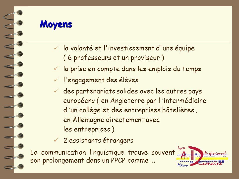 Moyens la volonté et l investissement d une équipe ( 6 professeurs et un proviseur ) la prise en compte dans les emplois du temps.