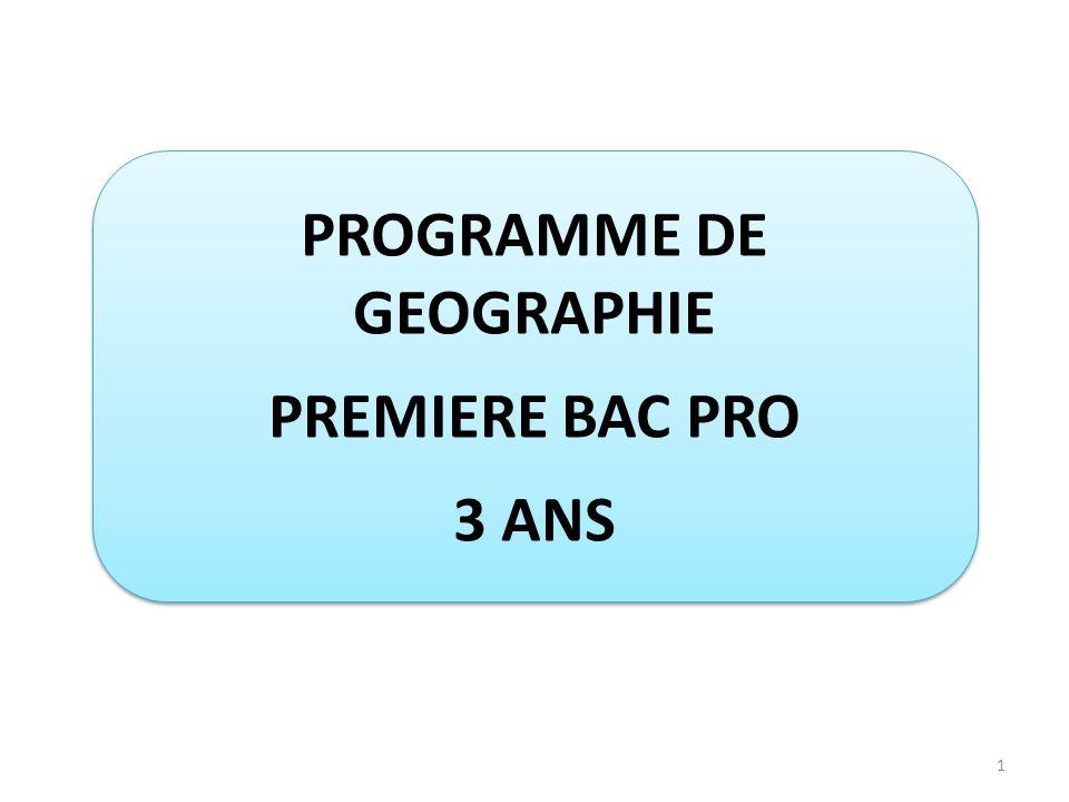 PROGRAMME DE GEOGRAPHIE
