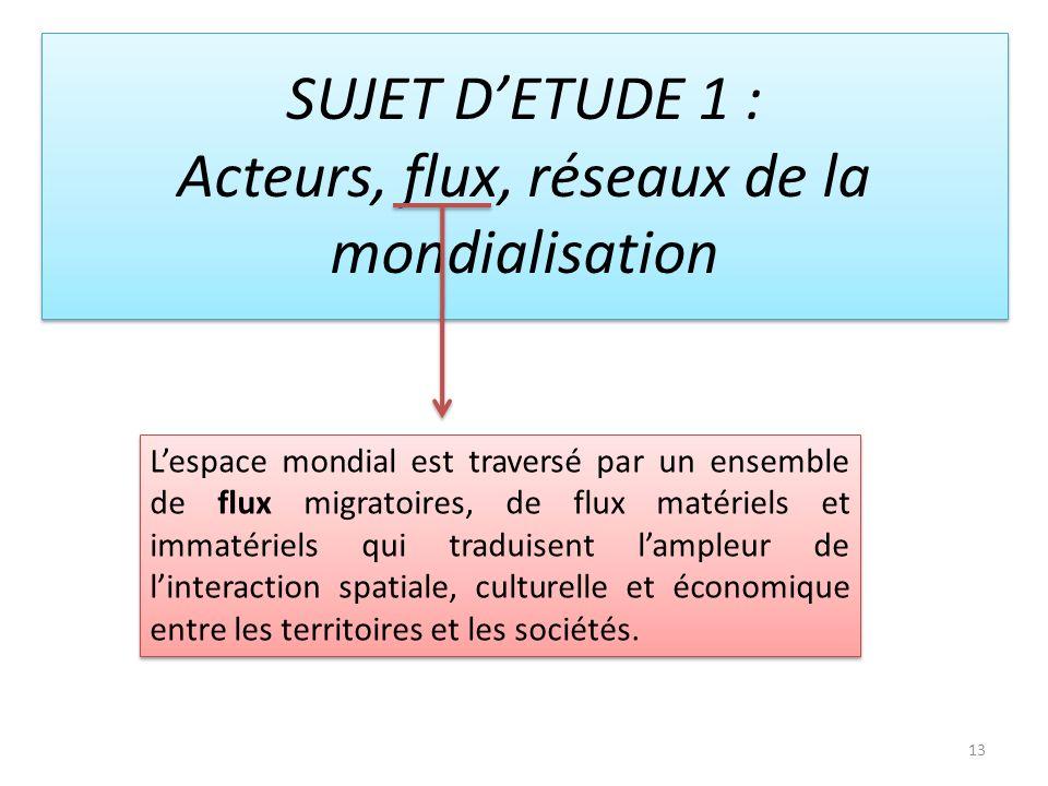 SUJET D'ETUDE 1 : Acteurs, flux, réseaux de la mondialisation